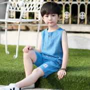 Kids Boys Summer Cotton sleeveless vest suit children 2017 new children in the summer of two sets of boys