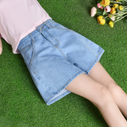 2017 new summer denim shorts female Korean waist thin a word pants loose wide leg elastic pants pants