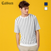 CABBEEN Mens striped short sleeve shirts, summer casual, comfortable, breathable T-shirt, knitted T-shirt, clothes tide
