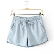 Summer big baggy shorts female yards wide leg home exercise shorts wearing thin cotton linen pants waist