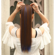 Female wig long straight ponytail long straight hair natural tie type straight ponytail female long ponytail wig streaked