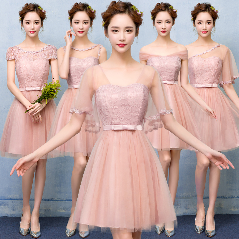 2017 New Party Dress Pink engagement bridesmaid dresses short dress girl bride toast summer clothes back