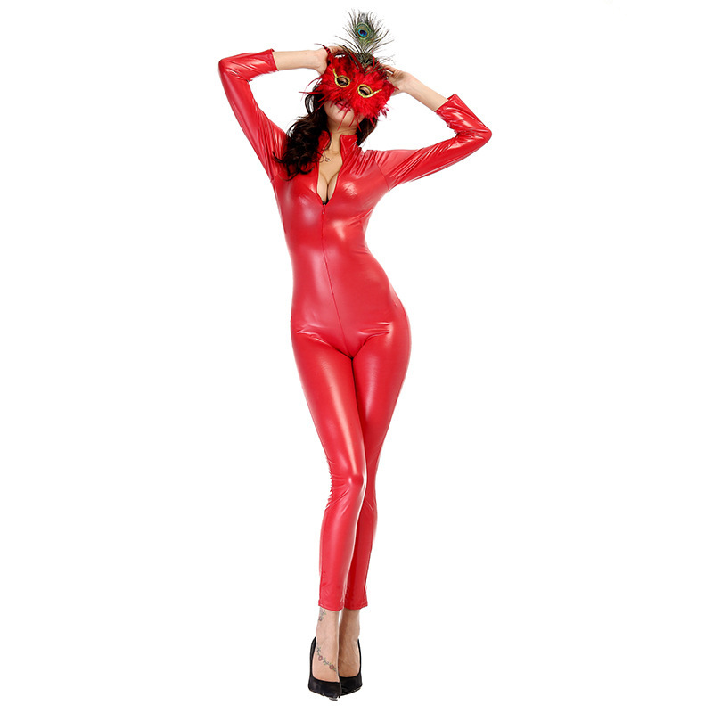 DS clothing export red patent leather leather Jumpsuit paragraph nightclub cos locomotive service game.