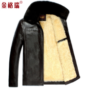 The middle-aged man fur leather cashmere winter old leather thickened Kejia men's father code coat