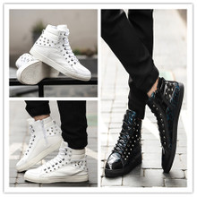 Europe CL men's fashion personality rivet nightclub zipper GZ high boots boots stylist leisure Street
