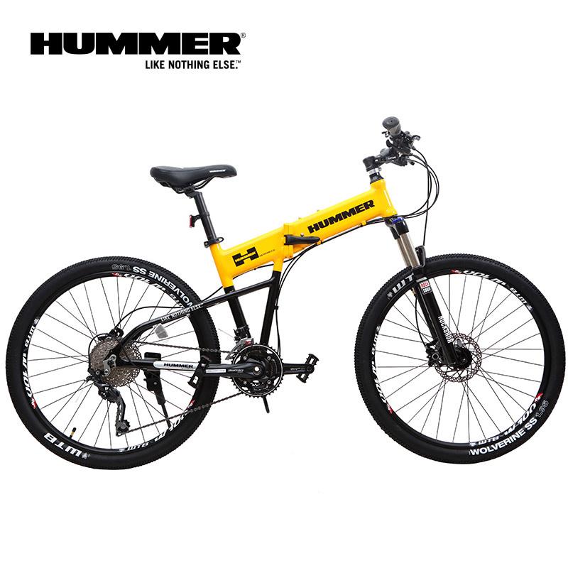 HUMMER悍马山地车 26寸30速 油压碟刹折叠自行车 补原子灰铝车架