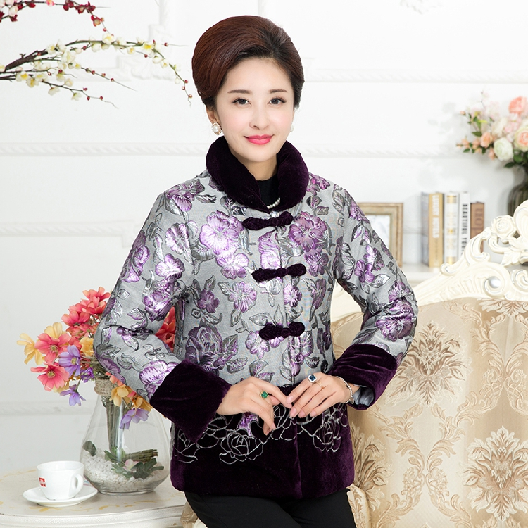 Daily specials with thick cotton-padded jacket embroidered winter outfit cotton-padded clothes grandma outfit cotton-padded jacket elderly mother of coat
