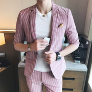 Summer new striped short sleeved small suit, men's Korean version, self-cultivation seven points, sleeve suit, hair stylist, half sleeve tide