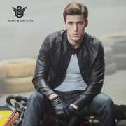 The new leather jacket collar male short slim type Pu locomotive Korean young men jacket trend