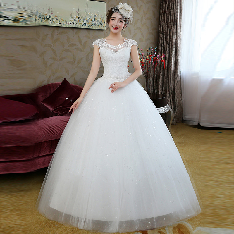 Suzhou wedding dress factory wholesale price direct word shoulder shoulders to large size thin bride wedding band