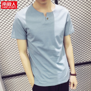 Nanjiren summer men's T-shirt collar V dressed young men half sleeve shirt cotton Korean tide