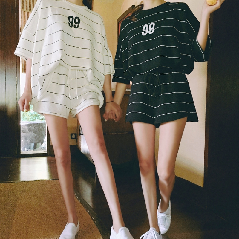 Korean summer shorts, sports knitwear, cotton XL, pajamas, female students, casual home wear suits