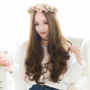 Girls with long curly hair wig divided Korean wave wig hair wig in the top of the whole life