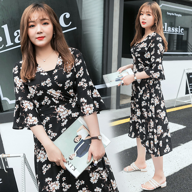 Babe big size women 17 summer new 200 kg V collar thin waist Floral Chiffon Dress lotus sleeves