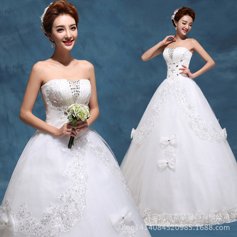New Korean wedding dresses fall/winter wedding dress lace Princess sweet tube top align top grade wedding dresses brides wedding dresses