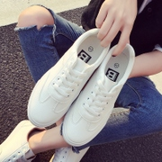 Spring and summer all-match leather white shoes white canvas shoes lace up shoes casual shoes and flat shoes Korean Students