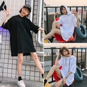 Summer fashion Korean loose all-match Hoodie girls long sleeved hoodies dress color
