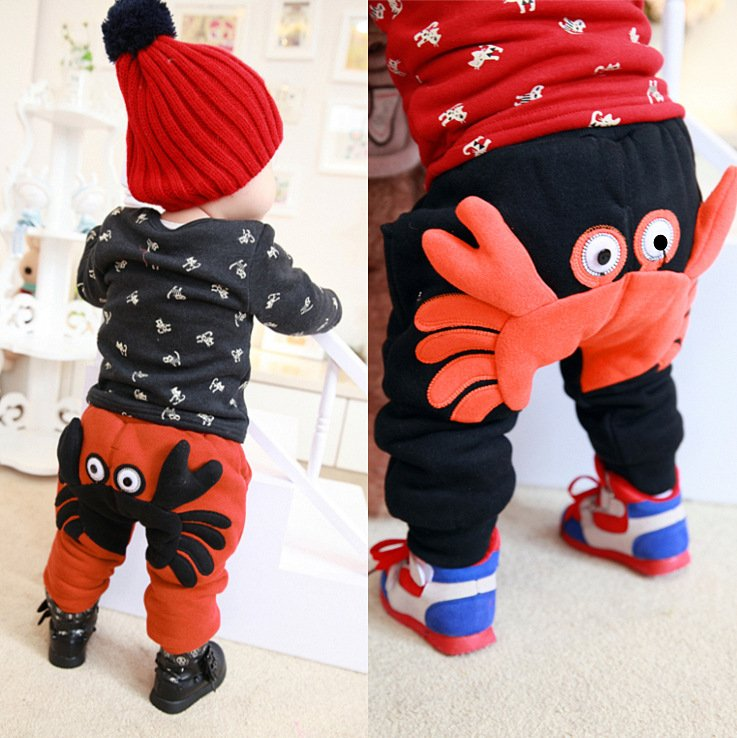In the winter of 2015 new trousers children burst coltsfoot baby crab models plus velvet casual pants trousers boy child