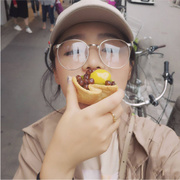 The new art RETRO Han Guoyuan metal frame glasses frame boy Harajuku big box repair face myopia goggles
