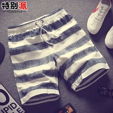 Summer mens striped shorts casual pants Korean version of five pants Slim thin beach pants trend mens pants