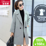 The spring and autumn of 2017 new large size wool coat, long thick loose cocoon thin woolen coat.