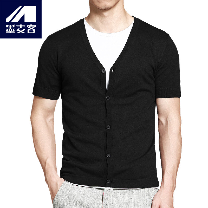Man V Mens thin collar cardigan sweater slim short sleeved sweater coat fashionable young spring