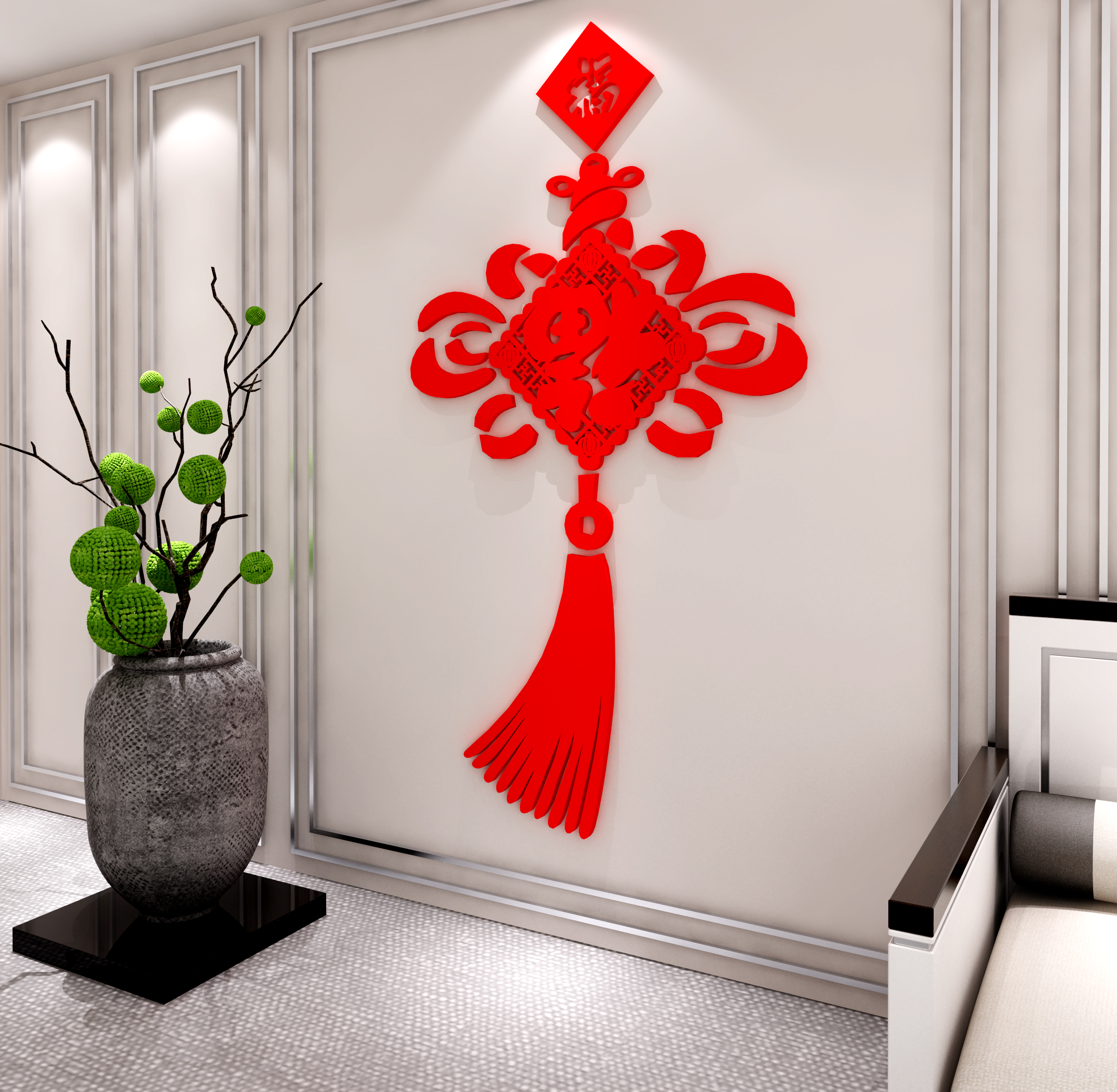 中国结福字墙贴亚克力3d立体画客厅玄关背景墙壁房间喜庆装饰防水