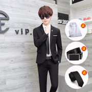 Men's suit suits the trend of young Korean moral small suit three pieces of student casual suit handsome man