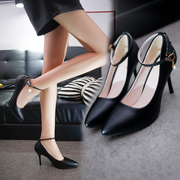 Autumn, shoes, shoes, black leather shoes, pointed shoes, buttons with fine, big shoes