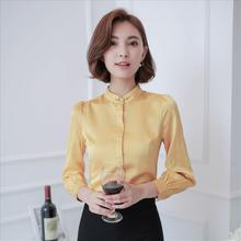 OL occupation temperament slim slim silk satin collar long sleeved shirt dress shirt bottoming 2016 fall
