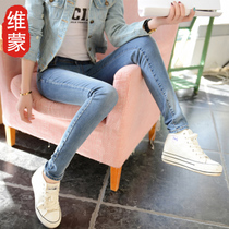 Spring 2017 light thin slim slim ladies stretch jeans feet pencil pants pants pants students summer
