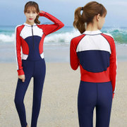 Diving suit female body sunscreen trousers long sleeve zip code men beach lovers snorkeling jellyfish Siamese swimsuit