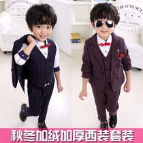 Kids boys suit suits vest Korean boom babies and child cashmere fall winter padded Plaid suit three piece set
