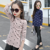 Girls t-2016 children Korean version of the Joker in the new fall winter wear polka dot long sleeve high neck blouse top
