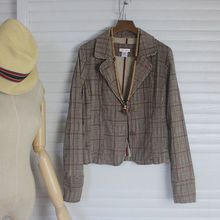 MISS JIANG Miss Jiang export cotton corduroy suit coat Long Sleeved Plaid