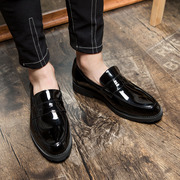 The Korean men's dress business casual shoes leather shoes pedal breathable black shoes men of England
