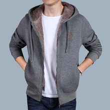 NIAN JEEP men's hooded sweater in autumn and winter with cashmere cardigan Mens long sleeved jacket leisure sports thickening