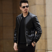 2017 spring new men's fashion casual leather collar jacket thin sheepskin jacket men