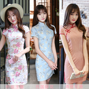 2017 new summer ladies fashion girls dress cheongsam daily short slim students Chinese wind