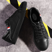 The new version of small leather shoes black shoes lace young male students fall winter men's casual cotton shoes