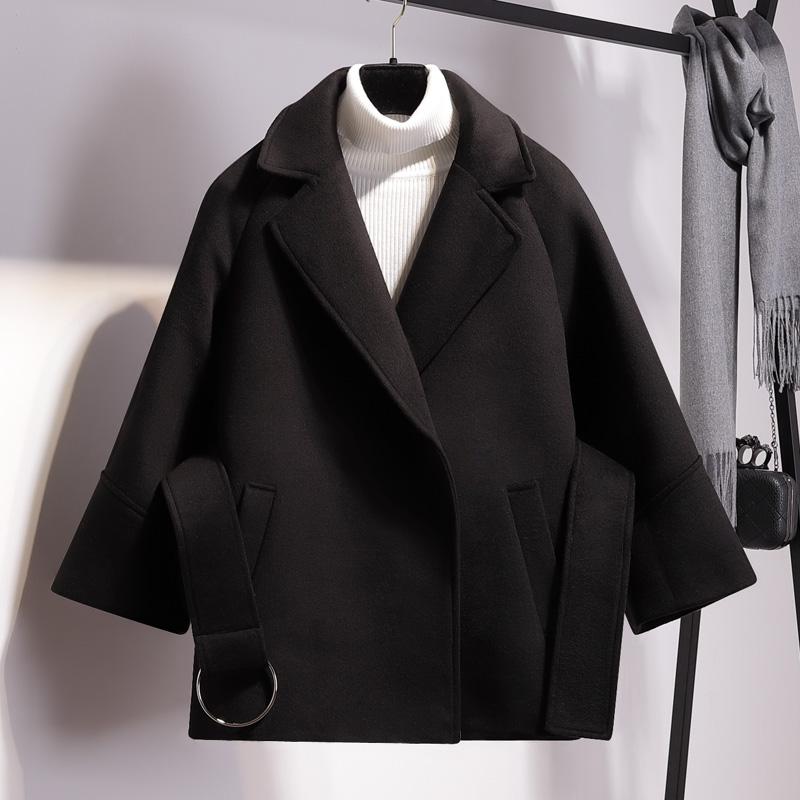 加厚娇小矮个子毛呢外套女秋冬呢子大衣韩版学生短款斗篷收腰驼色