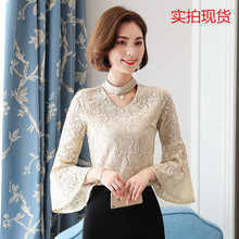 2017 shot autumn small shirt lace shirt sleeve female long sleeved V collar shirt T-shirt Size