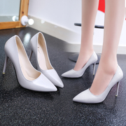 2017 new pink patent leather high heels female nude with a fine pointed red summer bride wedding shoes Asakuchi women's shoes
