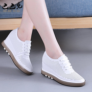 The increase in female white shoe leather hollow shoes spring 2017 all-match slope with leisure breathable shoes