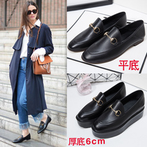 2017 Europe retro two Lok Fu shoes with metal buckle platform bottom half leather flat womens shoes shoes slippers