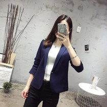 16 suit one cotton sleeve vent button slim small temperament suit female short coat dress long sleeve OL boom