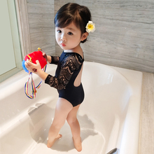 Girls Swimwear Children's clothing New Summer Princess Siamese Black Lace Child Swimsuit Girl Baby Long sleeve Swimsuit