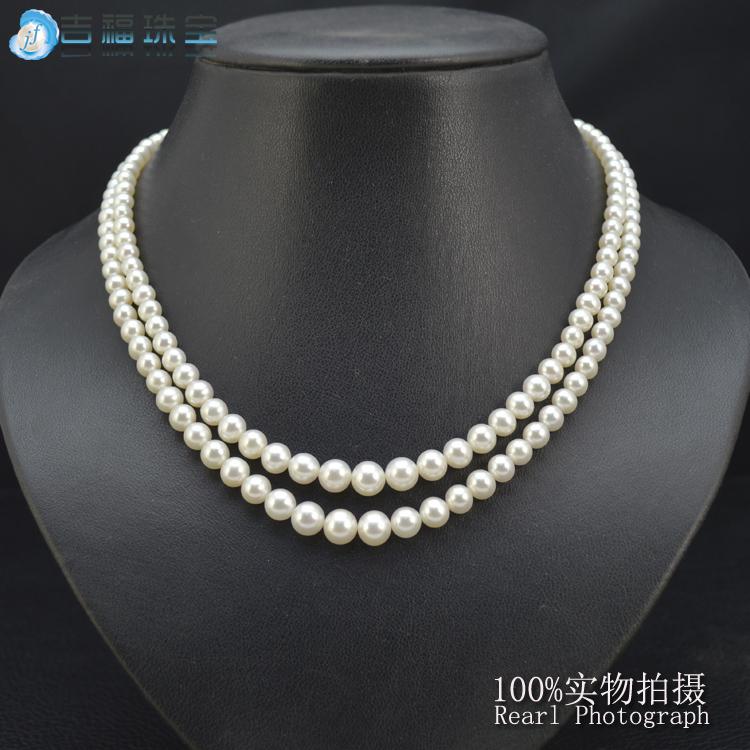 天然珍珠项链 正圆双层珍珠项链 大小珠花式项链 欧美款 经典款