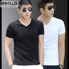 Modal male short sleeved T-shirt V slim men shirt collar with warm clothes on male cashmere half sleeve shirt