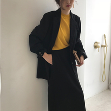 HG black brother black casual small suit female chic Korean version of the suit retro long suit jacket 2018 autumn